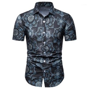 Single Breasted Lapel Neck Tops Breathable Designer Mens Polos Short Sleeve Print Casual Men Shirts Summer Slim