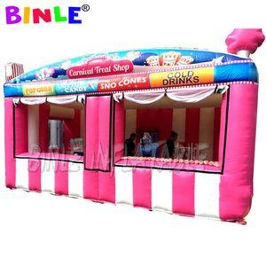 Restauration rapide oxford traitement carnaval géant gonflable rose magasin / gonflable Stand / pop-corn stand de crème glacée avec ventilateur