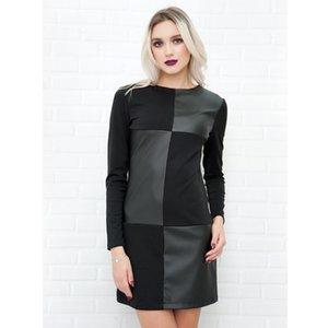 Женщины Vintage Leather Лоскутная Элегантный офис платье с длинным рукавом O шеи Твердая вскользь платье мини Новая мода зима