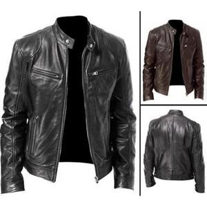 Uomini Giacca di pelle Autunno Inverno Mens Leather Jacket Uomini Giacche Cappotti collare del basamento Zipper Nero Motore Biker giacche moto