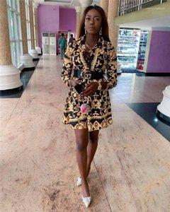 Vintage Uzun Kollu Günlük Elbise Lüks Moda Kadın Sonbahar Modelleri Kadın Altın Flora Baskılı Elbiseler Tasarımcı