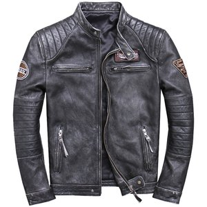 ZVAQS 2020 Men's Genuine Leather Jackets Vintage Cowhide Motorcycle Leather Jackets Brown Black Coat for Male PPH791
