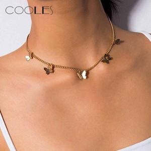 Schmetterling Vintage-Metallic Goldene Große Ketten-Halskette Damenschmuck Geschenk Bohemian Retro Style Mode Weiblichen Chocker Schmuck