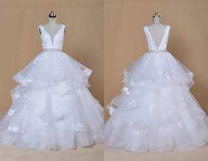 Graceful Ball Gown V neck Back Wedding Dresses Ruffles Tulle Applique New Arrival Real Photo Cheap Wedding Bridal Gowns Cheap Long Beading