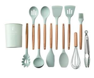 Yeni! 12 adet / takım Mutfak Silikon Pişirme Araçları Gereçler Gadgets Silikon Ahşap Saplı Kaşık Bush Pota Yapışmaz Tencere Pişirme Ar ...