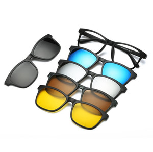 5 lenes Imán gafas de sol de espejo Clip Clip de gafas de sol de las gafas polarizadas de la prescripción de los hombres de encargo de la miopía