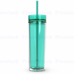16 once acrilico tazza succo isolato doppie 7colors tumbler PP tazze materiale plastico due coperchi paglia strato copertine