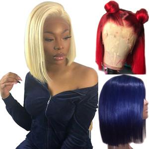 613 13x6 loira peruca dianteira do laço azul coloridos Remy Red Humanos cabelo acaba completa transparente frontal Encerramento Swiss Lace Curto Bob Wigs