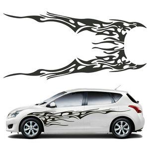 2PCS Universal Car Side Corpo de vinil adesivo Chama Grande 210.5x48cm Gráficos Decal DIY Decoração