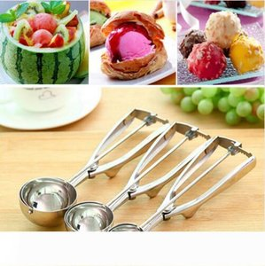 4CM 5CM 6CM Kitchen Tool Watermelon Ice Cream Spoon Mash Potato Scoop Stainless Steel Spoon Spring Handle Kitchen Tools DHL Free Shipping