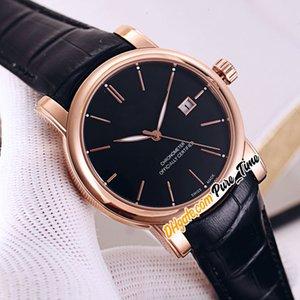 Новый San Marco Classico 8156-111-2 / 92 Автоматическая Мужские часы Дата Stud черный циферблат розового золота черный кожаный ремешок Мужская уборная часы Pure_Time