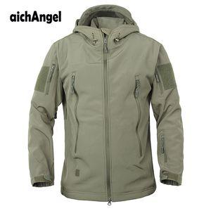 Coats Jackets Jackets Exército Brasão Camouflage Tático Militar Jacket Men Soft Shell Waterproof Jacket Windproof casaco com capuz Inverno