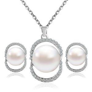 Bridal jóias de casamento Define Exquisite Jóias Set nupcial do casamento Jogo Jóias Atacado Set peças colar de pérolas Dois
