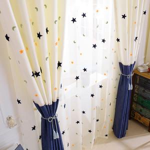 어린이 커튼 자수 스타 달은 아기 방을 선별 어린이 침실을위한 현대 스티칭 창 커튼을 계약 체결