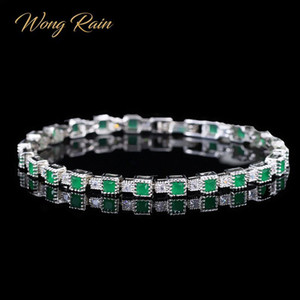 Wong Rain Vintage 100% 925 Sterling Silver Emerald Gemstone Bangle Charm Wedding Cocktail Bracelet Fine Jewelry Gifts Wholesale CX200704