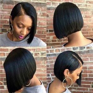 pelucas de cabello humano frente del cordón 14inch Bob corta 150% de la densidad brasileños pelucas rectas bob Remy del pelo para las mujeres negras Perruques de cheveux humains