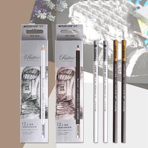 Lápices pieza del dibujo del arte Soft Standard Marrón Blanco Profesional de bocetos Pintura Lápices para Suministros Artista Art School