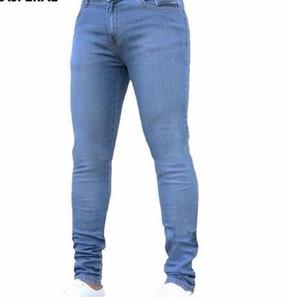 2019 Neue Mode Für Männer Casual Stretch Dünne Hose Enge Einfarbig Jeans Marke Mens Designer