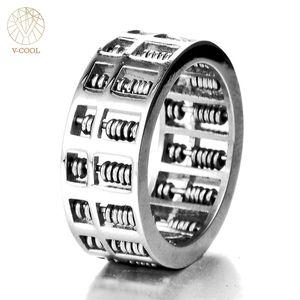 V-COOL Mode Abacus Ring Für Männer Frauen Hohe Qualität Mathematik Nummer Schmuck Edelstahl Charme Geschenk VR262 D19011502