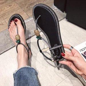 Current2019 Xia Woman Sandalias Pingdi Joker Ins Tidal Toe Rhinestone Piña Tender Estudiante Fairy Shoe