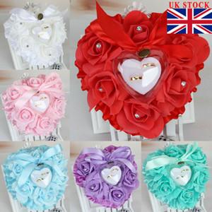 Matrimonio romantico Rosa HeartShaped anello Box portatore Titolare del cuscino regalo Nuovo