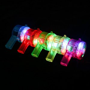 10PCS Luminous Whistle Flashing Whistle Colorful LED Light Up Fun Glow In The Dark Bar Party Toys Rave Light Stick Toy for Kids Children