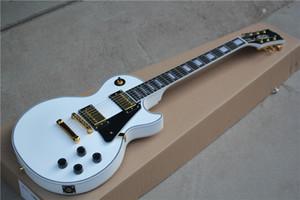 Nuevo blanco de encargo de la tienda de la guitarra 1958 VOS Negro belleza guitarra eléctrica ébano diapasón traste enlaces de oro de hardware Humbucker