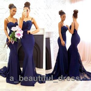 Новые темно-синие простые платья невесты современная милая кружевные аппликации Русалка выпускной вечернее платье бусины длинные платья подружки невесты BD8888