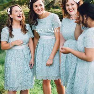 2019 encaje dama de honor vestidos de rodilla longitud vintage manga corta hoja joya a-line más tamaño criada de honor fiesta cóctel vestidos de fiesta