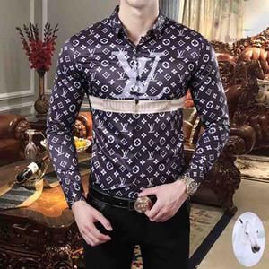 2020 New Medusa Printed Luxury Men's Dress Shirt Slim Fit хлопчатобумажная рубашка мужская черная печать повседневная Деловая Верхняя социальная одежда M-3XL
