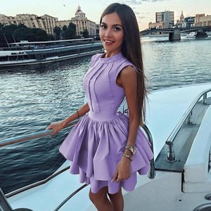 Sexy Lilac Prom Dresses A Line High Collar Short Mini Satin Cocktail Party Gowns Plus Size Homecoming Dresses Girls