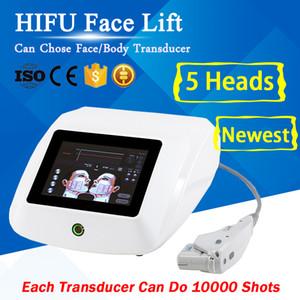 Equipo médico portátil HIFU Lifting facial Eliminación de arrugas Cuerpo adelgazante Máquina de ultrasonido Hifu con 5 cabezas para rostro y cuerpo Terapia HIFU