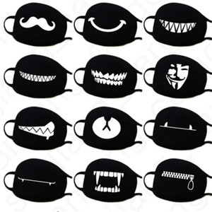 40 couleurs Masques Cartoon visage anti-poussière Masque Visage Couverture Kawaii Anime Masques Bouche Kaomoji-kun Emotiction coton respirant Black Mask D31406