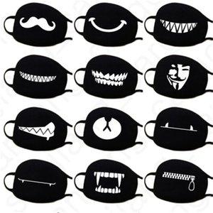 40 Colors Cartoon Face Cotton Face Masks Mask Cover Anti Mouth Masks Kawaii Kaomoji-kun Dust Emotiction Breathable Anime Black D31406 M Jkgd