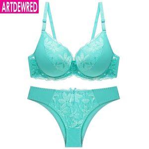 Femmes Sexy Lace Big Size Bra Set Plus Size Push Up Set 7 Couleur Sous Soutien gorge push up en bref C D Coupe Brassiere Panty
