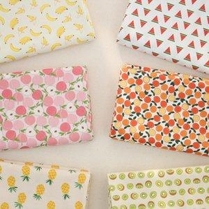 Desgaste 160x50cm fruta piña sandía sarga de algodón Tejido de bricolaje del paño de los niños Hacer ropa de cama Edredón decoración del hogar de 180 g / m
