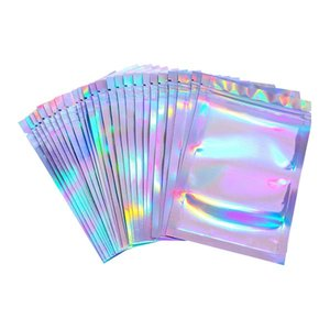 Flat Zip lock Bath Salt Cosmetic Bag One Side Clear Holographic Laser Mini Aluminum Foil Zip Lock Bags Thick