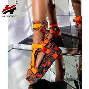 NAN JIU MOUNTAIN 2020 Verão Sandals Mulheres Plataforma Aberta de chá de alta qualidade Plus Size 34-44 casuais das mulheres Sapatos