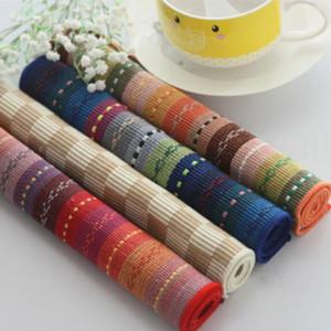 Bohemia Boho Table Placemats-Algodão Colorido Listrado Food Mat Cozinha Pad Café Chá Lugar Esteiras Home Desk Decor 30 * 45 cm