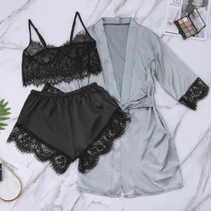 3pcs Women Sexy Satin Lingerie Underwear Sets Babydoll Nightwear Sleepwear Silk Strap Solid Color Lace Sets Nightegown Pajamas#W