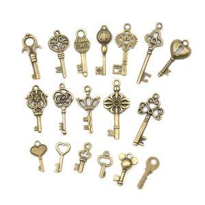 Bronze Squelette Orné Clés Lot Antique Vintage Vieux Look Collier Pendentif Fantaisie Coeur Décor DIY Cadeaux Artisanaux 18pcs / ensembles