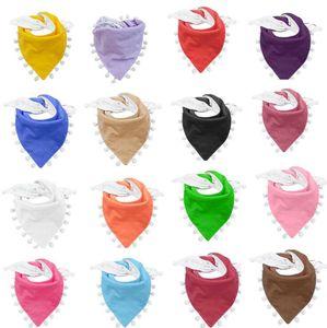 Tassel Pom Pom Bib Baby Solid Color Newborn Girls Burp Bandana Cotton Soft Toddler Triangle Scarf Infant Saliva Towel OOA8026