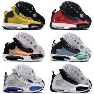 Top quality Jumpman XXXIV 34 Blue Void Air Basketball Shoes 34s Zoom Eclipse Bred Red Orbit Green Glow Metallic Silver Mens Sneakers
