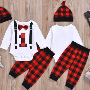 Autumn Baby kids Boy Girl Newborn Christmas Clothes Bow Long Sleeve Romper Jumpsuit Pant Hat Outfit Sets
