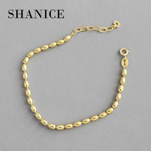 heap Bracelets & Bangles SHANICE Cool 100% 925 Sterling Silver Women Bracelets INS niche geometric oval beads beading Men Women Jewelry P...