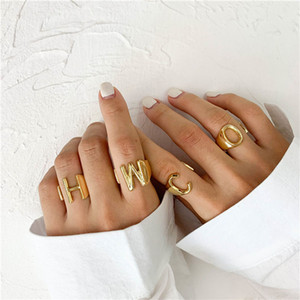 Hohle A-Z 26 Brief Offene Ringe Gold Farbe Metalljustierbarer Öffnungs-Ring Initial-Name Alphabet Punkweinlese-Statement Ring-Partei Schmuck