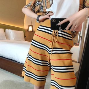 2020 summer new product web celebrity with the qu zhu ice cool silk stripe loose thin casual joker five minutes shorts woman