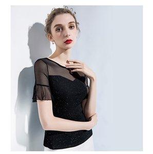 breve Slim delle donne a maniche corte T-shirt era sottile camicia primavera estate 2020 che basa camicia nuova piccola camicia rete di seta filato luminoso