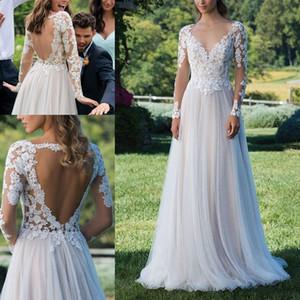 Sheer Long Sleeves Lace A Line Böhmen Brautkleider Tüll Applique Backless Bodenlangen Sommer Strand Hochzeit Brautkleider