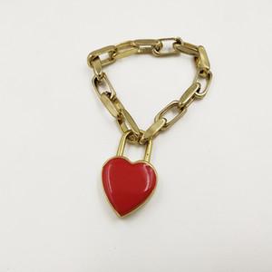 I nuovi braccialetti rossi cuore blocco per Women Gioielli Vintage Metal Star braccialetto gotico Femme oro incanta il braccialetto Chain dei Ancient bijoux
